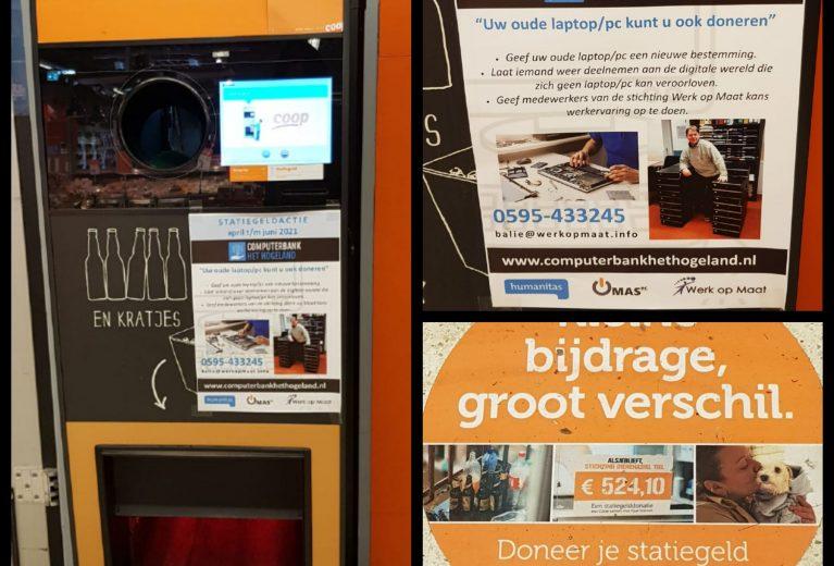 Statiegeldactie voor Computerbank het Hogeland bij Coop Baflo